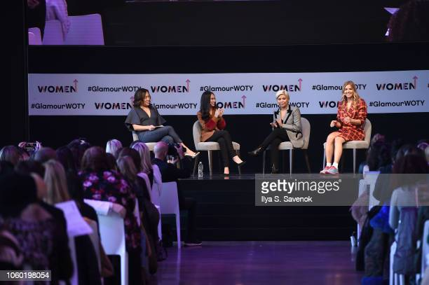 Sutian Dong Audrey Gelman Jen Rubio and Tyler Haney speak on stage during Turn A Big Idea Into A Bigger Business panel discussion 2018 Glamour Women...