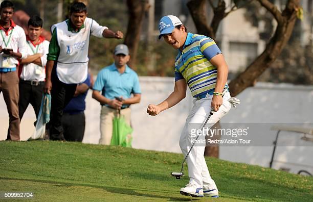 Sutijet Kooratanapisan of Thailand celebrating a putt during round four of the Bashundhara Bangladesh Open at Kurmitola Golf Club on February 13,...