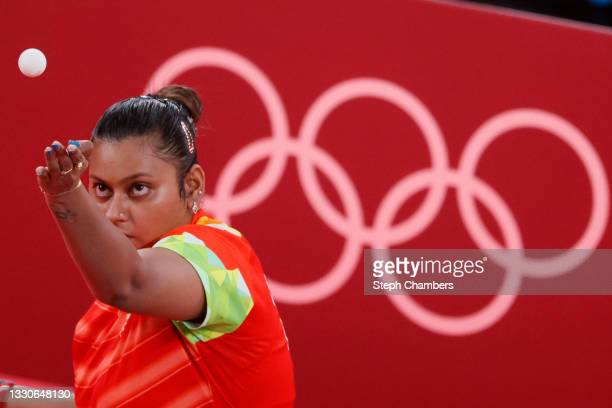 Sutirtha Mukherjee of Team India serves the ball during her Women's Singles Round 2 match on day three of the Tokyo 2020 Olympic Games at Tokyo...
