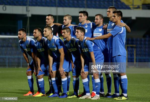Sutjeska players pose for the team photo prior the UEFA Europa League third round qualifier match between Sutjeska Niksic and Linfield FC on August...