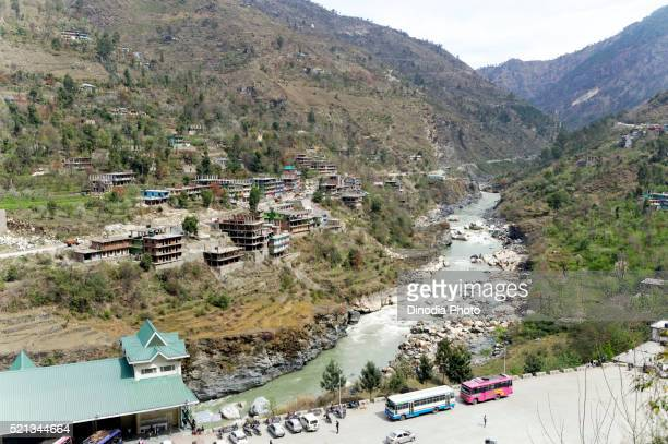 Sutlej river and Rampur bus stand, himachal pradesh, india, Asia