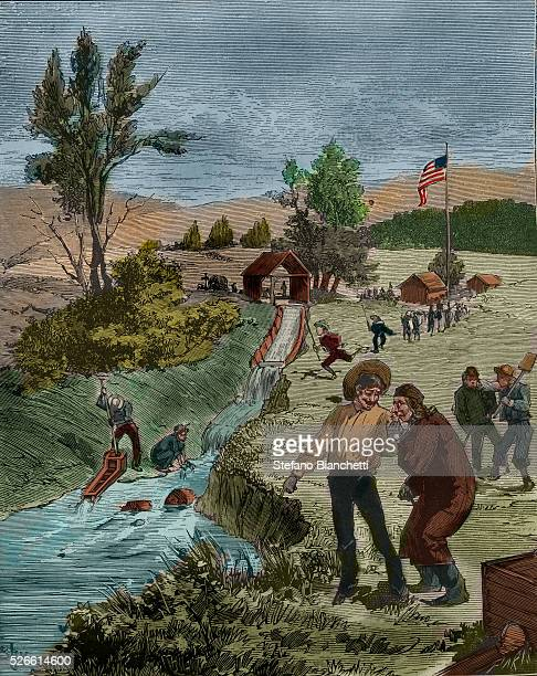 Sutter's Mill site of the discovery of gold in California Ca 1850s engraving