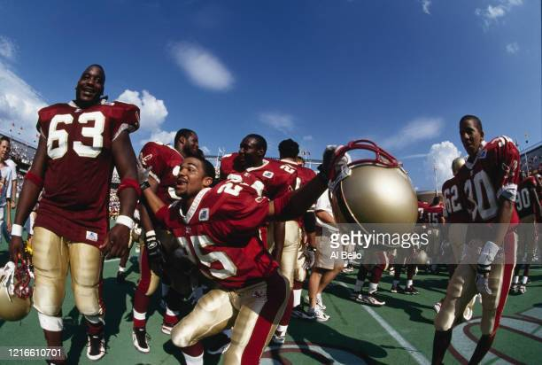 DJ Sutton and Damien Woody for the Boston College Eagles celebrate after winning their NCAA Big East Conference college football game against the...