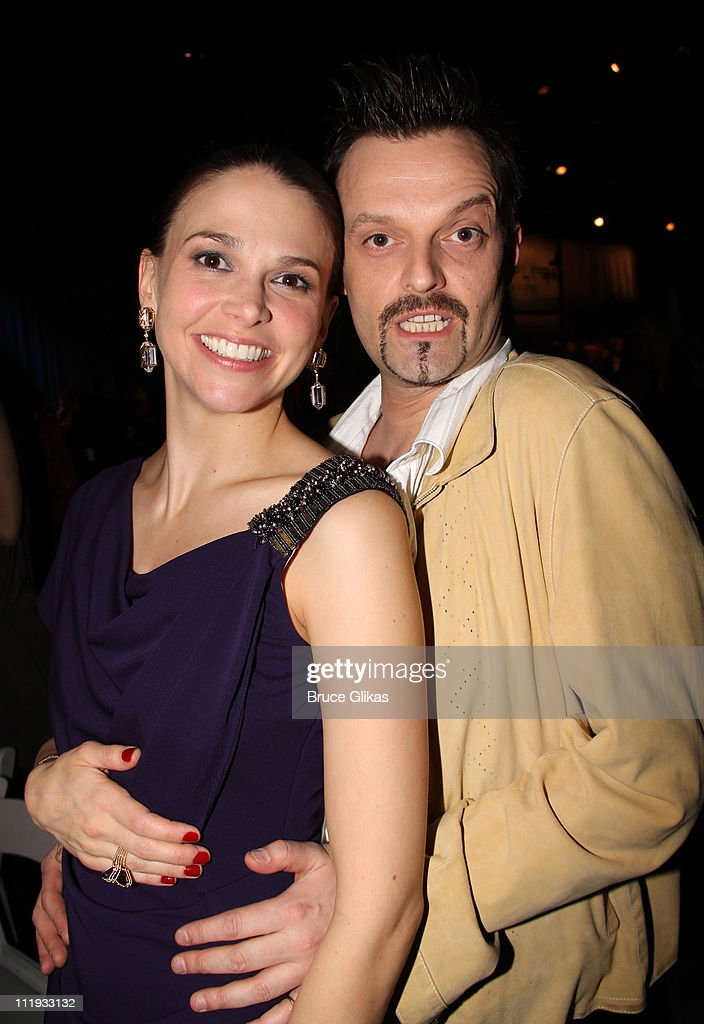 sutton foster and artist julian havard pose at the opening night for picture id111933132