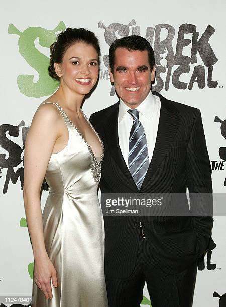 """Sutton Foster and Brian d' Arcy James attends the opening night party for """"Shrek The Musical"""" on Broadway at the Plaza hotel on December 14, 2008 in..."""