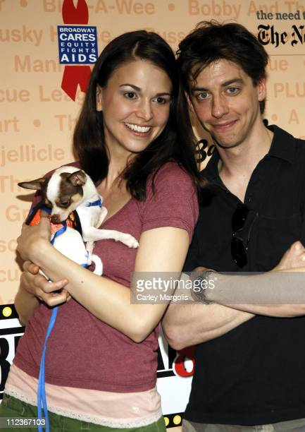 Sutton Foster and Christian Borle with James during Broadway Barks 8 at Shubert Alley in New York City New York United States