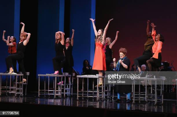 Sutton Foster and company perform in the 'Thoroughly Modern Millie' 15th Anniversary Reunion Concert at The Minskoff Theater on February 12 2018 in...
