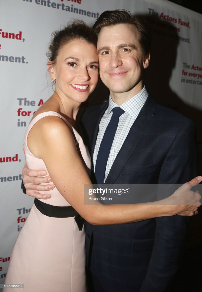 Sutton Foster and Gavin Creel pose at the 'Thoroughly Modern Millie' 15th Anniversary Reunion Concert After Party at Opry City Stage on February 12, 2018 in New York City.