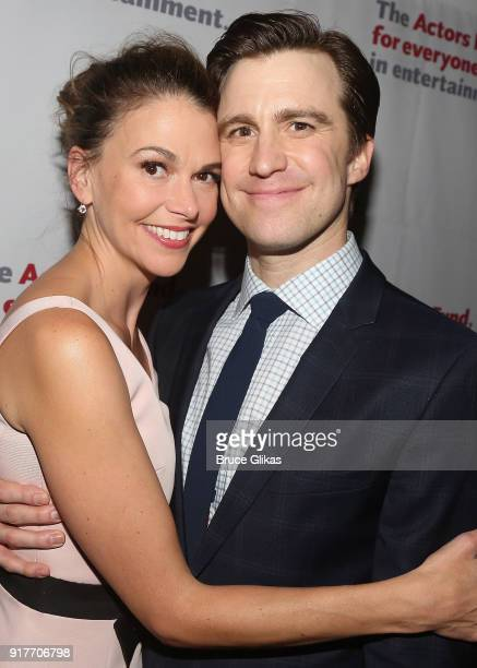 Sutton Foster and Gavin Creel pose at the 'Thoroughly Modern Millie' 15th Anniversary Reunion Concert After Party at Opry City Stage on February 12...
