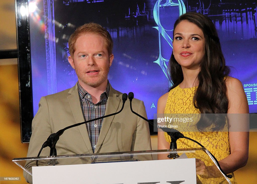 Sutton Foster and Jesse Tyler Ferguson attend the 2013 Tony Awards Nominations at The New York Public Library for Performing Arts on April 30, 2013 in New York City.