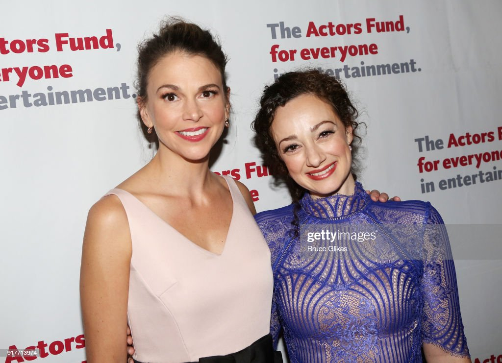 Sutton Foster and Megan McGinnis pose at the 'Thoroughly Modern Millie' 15th Anniversary Reunion Concert After Party at Opry City Stage on February 12, 2018 in New York City.