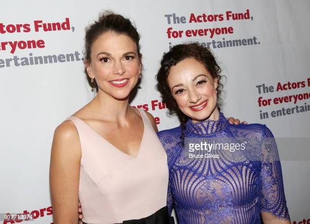 Sutton Foster and Megan McGinnis pose at the 'Thoroughly Modern Millie' 15th Anniversary Reunion Concert After Party at Opry City Stage on February...