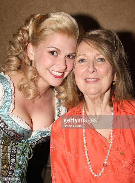 """Sutton Foster and Teri Garr pose as she visits The cast of """"Mel Brooks' Young Frankenstein"""" backstage on Broadway at The Hilton Theater on June 18,..."""
