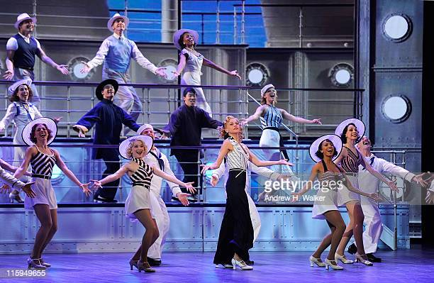 """Sutton Foster and the cast of """"Anything Goes'' perform on stage during the 65th Annual Tony Awards at the Beacon Theatre on June 12, 2011 in New York..."""