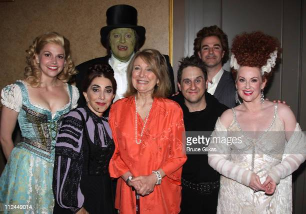 Sutton Foster Andrea Martin Shuler Hensley Christopher Fitzgerald Roger Bart as 'Dr Frankenstein' Megan Mullally pose with Teri Garr as she visits...