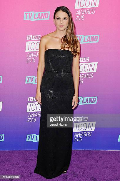 Sutton Foster arrives at the TV Land Icon Awards at The Barker Hanger on April 10 2016 in Santa Monica California