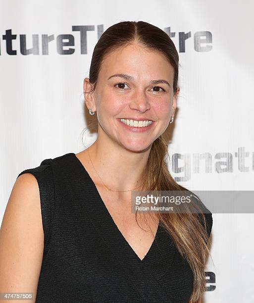Sutton Foster attends the Kung Fu opening night party at Signature Theatre Company's The Pershing Square Signature Center on February 24 2014 in New...