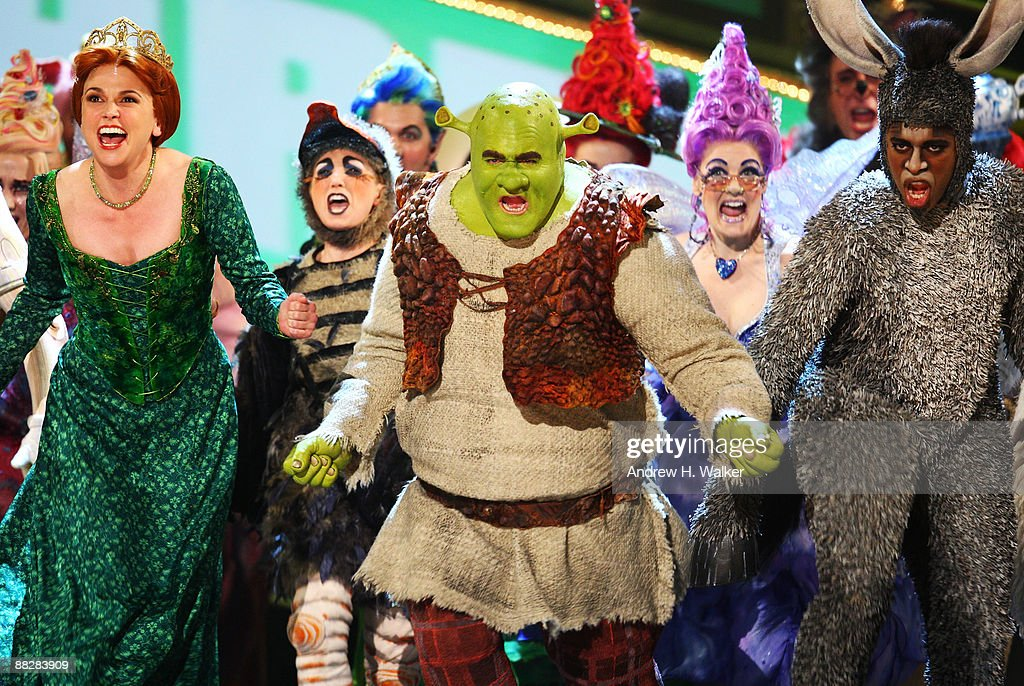 Sutton Foster, Brian d'Arcy James and Daniel Breaker perform a song from 'Shrek the Musical' onstage during the 63rd Annual Tony Awards at Radio City Music Hall on June 7, 2009 in New York City.