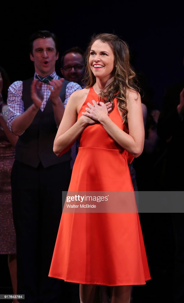 Sutton Foster during the curtain call bows for the Actors Fund's 15th Anniversary Reunion Concert of 'Thoroughly Modern Millie' on February 18, 2018 at the Minskoff Theatre in New York City.