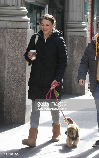 Sutton Foster is seen at the 'Younger' film set on April 02 2019 in New York City