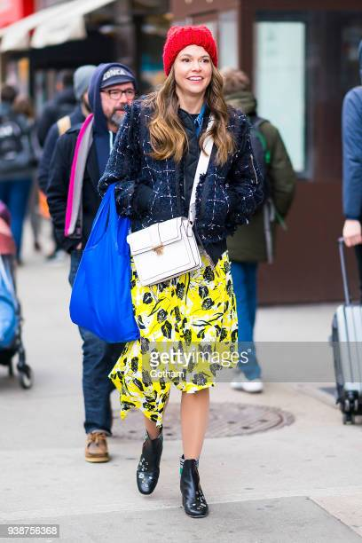 Sutton Foster is seen filming 'Younger' in Union Square on March 27, 2018 in New York City.