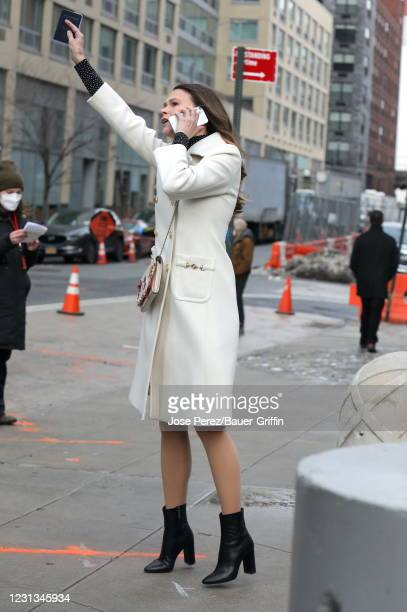 """Sutton Foster is seen on the set of """"Younger"""" on February 23, 2021 in New York City."""