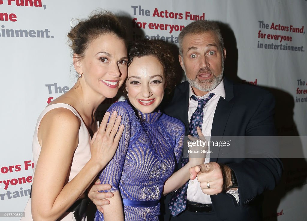 Sutton Foster, Megan McGinnis and Marc Kudisch pose at the 'Thoroughly Modern Millie' 15th Anniversary Reunion Concert After Party at Opry City Stage on February 12, 2018 in New York City.