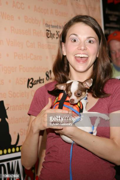 Sutton Foster with dog, James during Broadway Barks! 8 at Shubert Alley in New York, NY, United States.