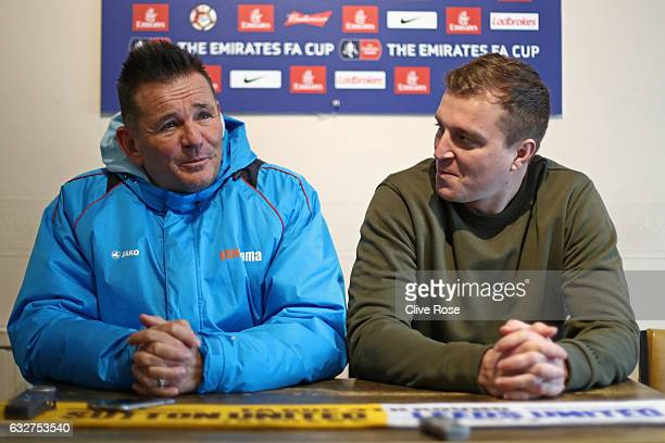 Sutton United FC Manager Paul Doswell and Sutton United FC captain Jamie Collins speak to the media during the Sutton United media day ahead of their...