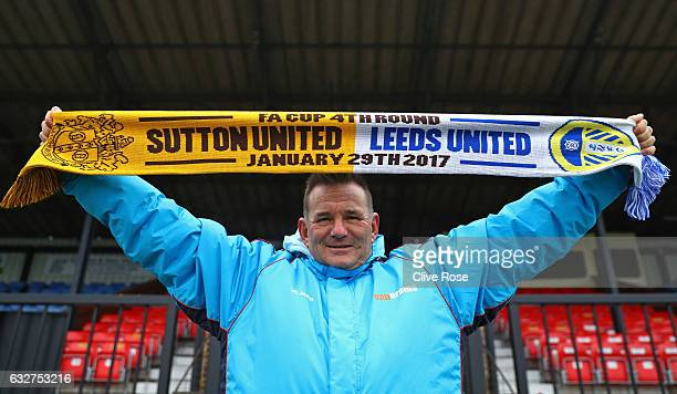 Sutton United FC Manager Paul Doswell poses during the Sutton United media day ahead of their FA Cup fourth round tie against Leeds United at The...