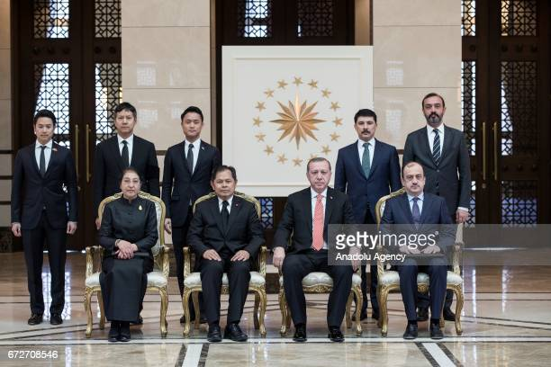 Suvat Chirapant Ambassador of Thailand and Turkish President Recep Tayyip Erdogan pose for a photo after he presented his letter of credence to...