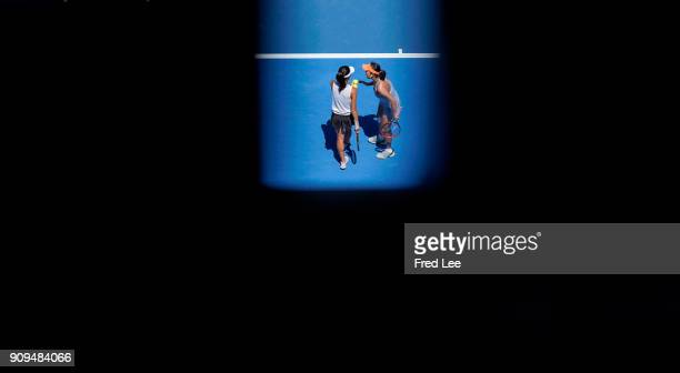 SuWai Hsieh of Taipei and Shuai Peng of China compete in their women's doubles semifinal match against Timea Babos of Hungary and Kristina Mladenovic...