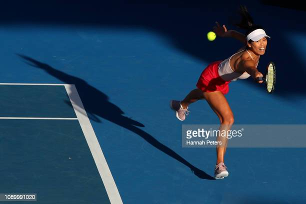 Su-wei Hsieh of China plays a backhand during her semi final game against Bianca Andreescu of Canada at the ASB Classic on January 05, 2019 in...
