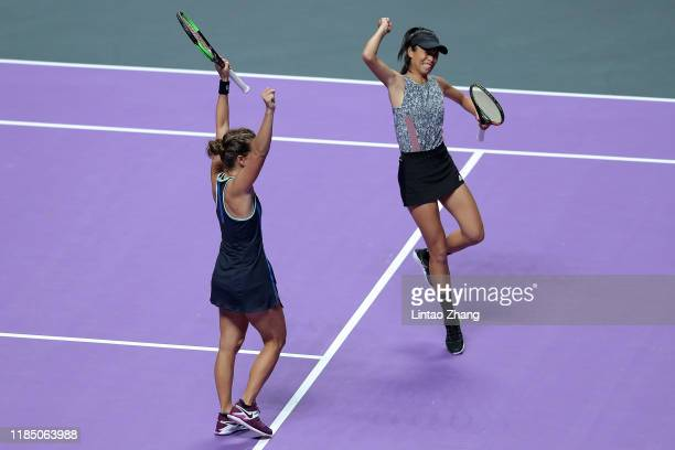 Su-Wei Hsieh of Chinese Taipei and Barbora Strycova of the Czech Republic celebrate match point against Anna-Lena Groenefeld of Germany and Demi...