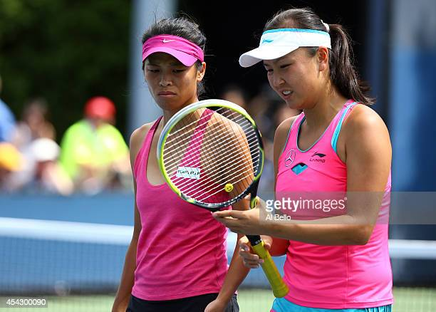 Su-Wei Hsieh of Chinese Taipei and Shuai Peng of China on Day Four of the 2014 US Open at the USTA Billie Jean King National Tennis Center on August...