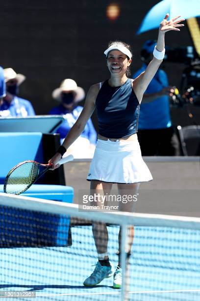 Su-Wei Hsieh of Chinese Taipei celebrates after winning her Women's Singles second round match against Bianca Andreescu of Canada during day three of...