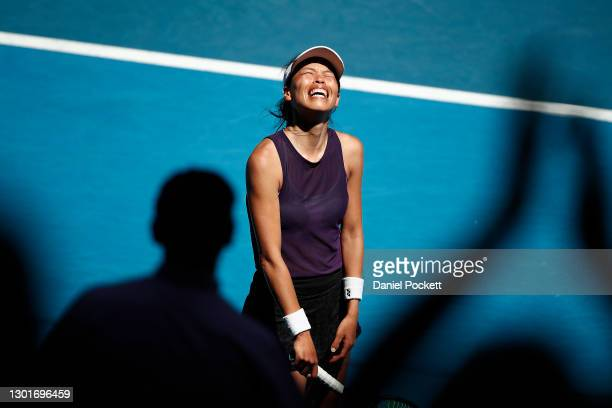 Su-Wei Hsieh of Chinese Taipei celebrates after winning match point in her Women's Singles third round match against Sara Errani of Italy during day...