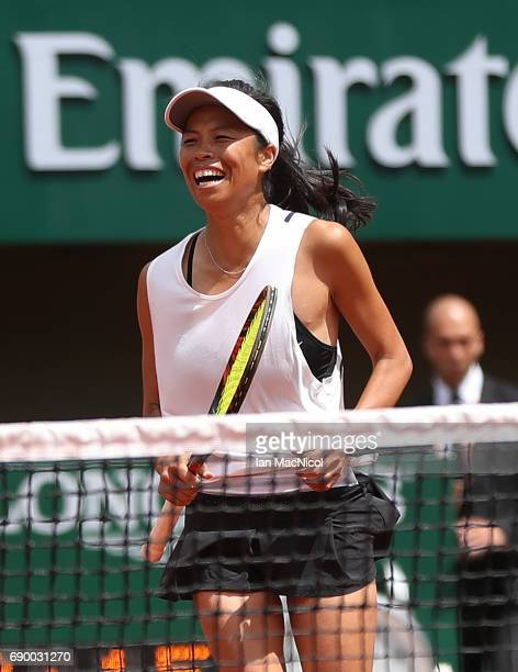 SuWei Hsieh of Chinese Taipei celebrates during her match with Johanna Konta during Day Three at Roland Garros on May 30 2017 in Paris France