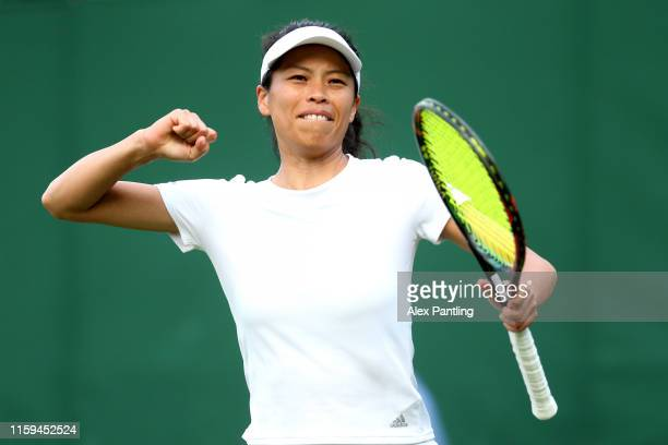 SuWei Hsieh of Chinese Taipei celebrates match point in her Ladies' Singles first round match against Jelena Ostapenko of Latvia during Day one of...