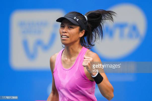 SuWei Hsieh of Chinese Taipei celebrates victory after the first round match against Caroline Wozniacki of Denmark on Day two of 2019 Dongfeng Motor...