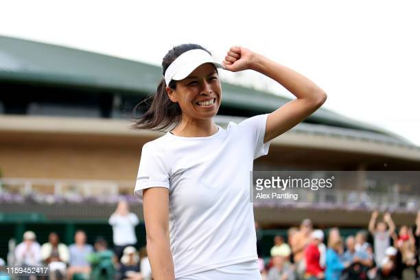 SuWei Hsieh of Chinese Taipei celebrates victory in her Ladies' Singles first round match against Jelena Ostapenko of Latvia during Day one of The...
