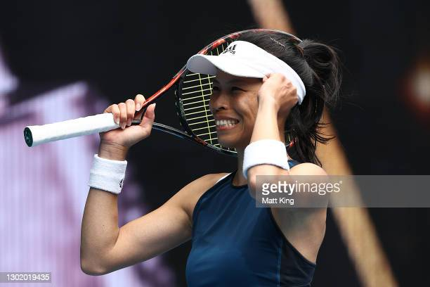 Su-Wei Hsieh of Chinese Taipei celebrates victory in her Women's Singles fourth round match against Marketa Vondrousova of Czech Republic during day...