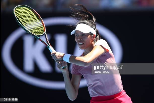 SuWei Hsieh of Chinese Taipei plays a backhand in her third round match against Naomi Osaka of Japan during day six of the 2019 Australian Open at...