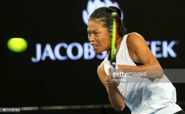 SuWei Hsieh of Chinese Taipei plays a backhand in her third round match against Agnieszka Radwanska of Poland on day six of the 2018 Australian Open...
