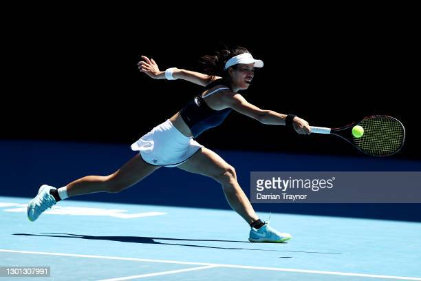 Su-Wei Hsieh of Chinese Taipei plays a backhand in her Women's Singles second round match against Bianca Andreescu of Canada during day three of the...