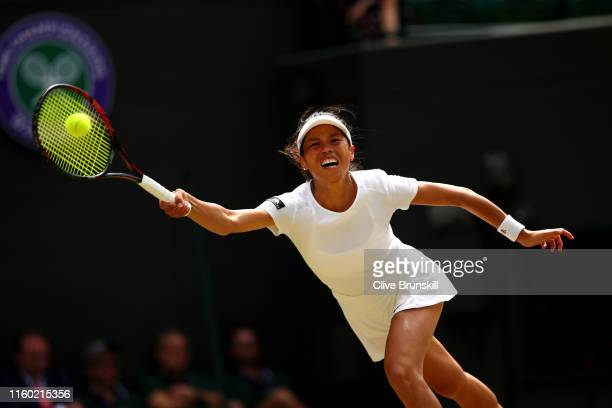 Su-Wei Hsieh of Chinese Taipei plays a forehand in her Ladies' Singles third round match against Karolina Pliskova of The Czech Republic during Day...