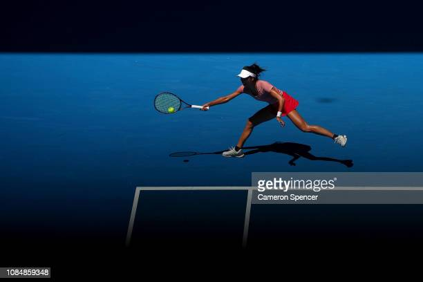 Su-Wei Hsieh of Chinese Taipei plays a forehand in her third round match against Naomi Osaka of Japan during day six of the 2019 Australian Open at...