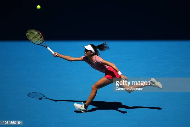 SuWei Hsieh of Chinese Taipei plays a forehand in her third round match against Naomi Osaka of Japan during day six of the 2019 Australian Open at...