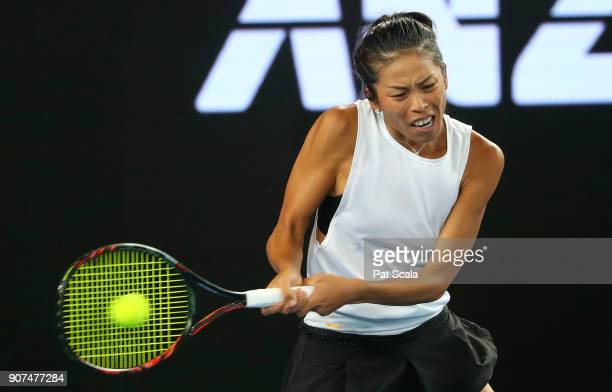 SuWei Hsieh of Chinese Taipei plays a forehand in her third round match against Agnieszka Radwanska of Poland on day six of the 2018 Australian Open...