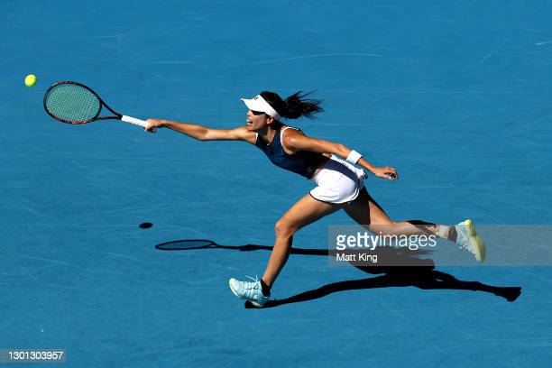 Su-Wei Hsieh of Chinese Taipei plays a forehand in her Women's Singles second round match against Bianca Andreescu of Canada during day three of the...
